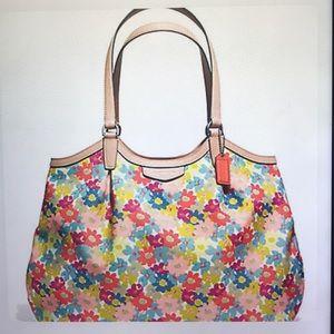 COACH SIGNATURE STRIPE FLORAL PRINT SHOULDER BAG